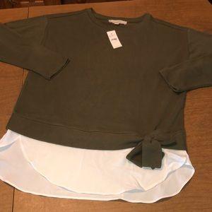 LOFT Green and White Layered Sweater Sweatshirt S